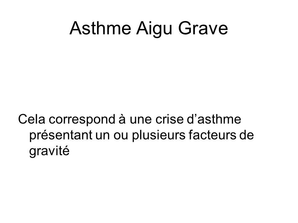 Asthme Aigu Grave Cela correspond à une crise dasthme présentant un ou plusieurs facteurs de gravité