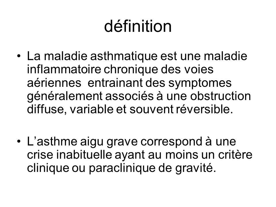 définition La maladie asthmatique est une maladie inflammatoire chronique des voies aériennes entrainant des symptomes généralement associés à une obs