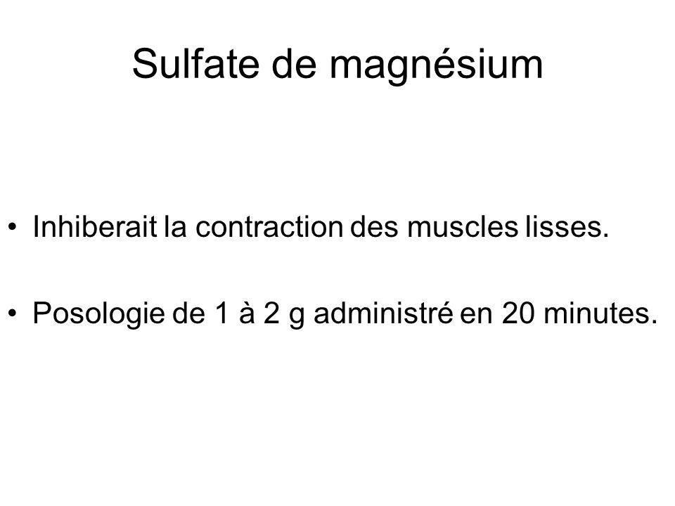 Sulfate de magnésium Inhiberait la contraction des muscles lisses. Posologie de 1 à 2 g administré en 20 minutes.