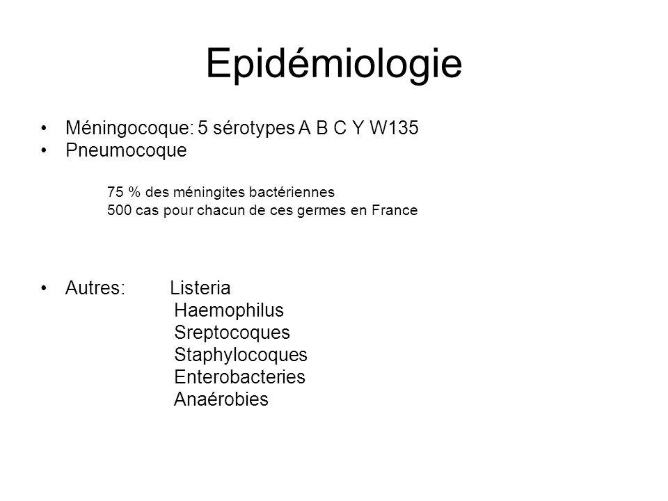 Epidémiologie Méningocoque: 5 sérotypes A B C Y W135 Pneumocoque 75 % des méningites bactériennes 500 cas pour chacun de ces germes en France Autres: