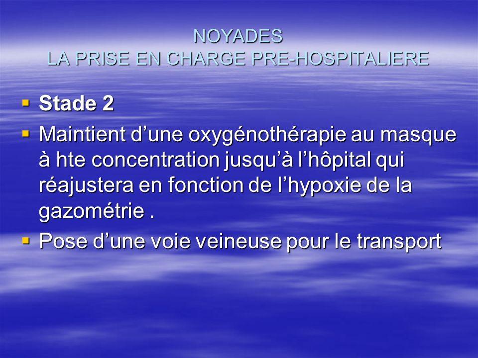 NOYADES LA PRISE EN CHARGE PRE-HOSPITALIERE Stade 2 Stade 2 Maintient dune oxygénothérapie au masque à hte concentration jusquà lhôpital qui réajuster
