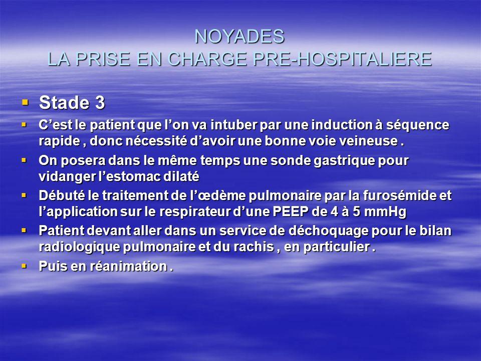 NOYADES LA PRISE EN CHARGE PRE-HOSPITALIERE Stade 3 Stade 3 Cest le patient que lon va intuber par une induction à séquence rapide, donc nécessité dav