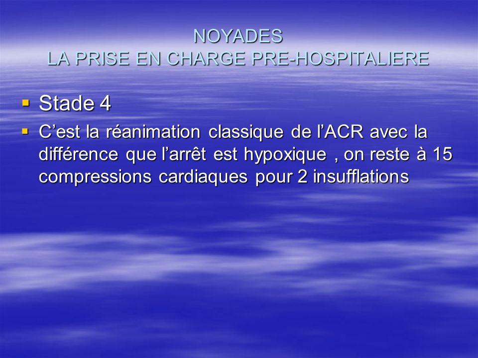 NOYADES LA PRISE EN CHARGE PRE-HOSPITALIERE Stade 4 Stade 4 Cest la réanimation classique de lACR avec la différence que larrêt est hypoxique, on rest