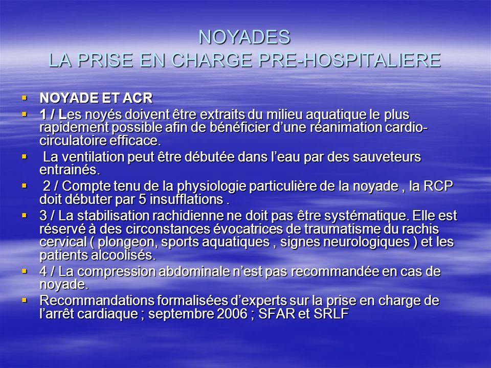 NOYADES LA PRISE EN CHARGE PRE-HOSPITALIERE NOYADE ET ACR NOYADE ET ACR 1 / Les noyés doivent être extraits du milieu aquatique le plus rapidement pos