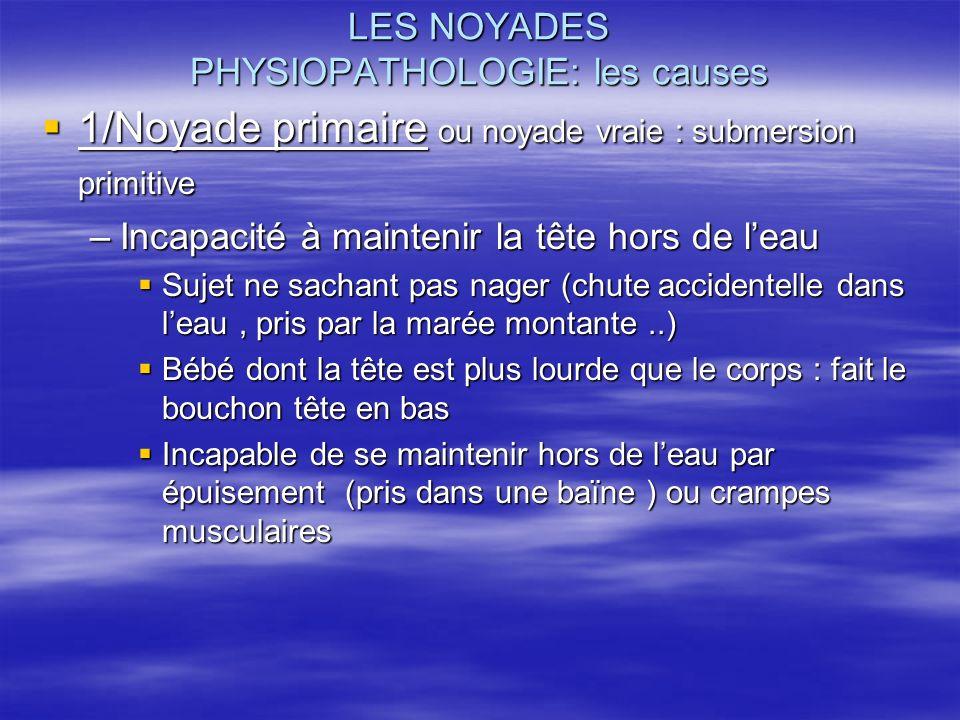 LES NOYADES PHYSIOPATHOLOGIE: les causes 1/Noyade primaire ou noyade vraie : submersion primitive 1/Noyade primaire ou noyade vraie : submersion primi