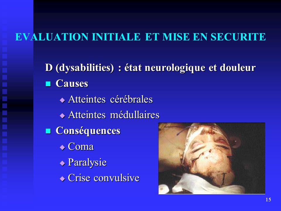 15 EVALUATION INITIALE ET MISE EN SECURITE D (dysabilities) : état neurologique et douleur Causes Causes Atteintes cérébrales Atteintes cérébrales Att
