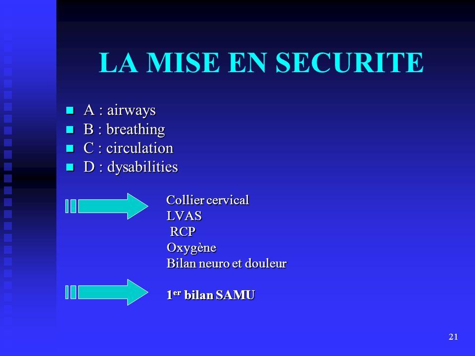 21 LA MISE EN SECURITE A : airways A : airways B : breathing B : breathing C : circulation C : circulation D : dysabilities D : dysabilities Collier c