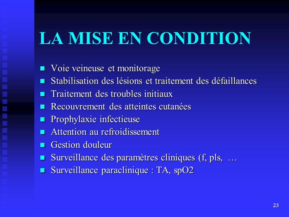 23 LA MISE EN CONDITION Voie veineuse et monitorage Voie veineuse et monitorage Stabilisation des lésions et traitement des défaillances Stabilisation