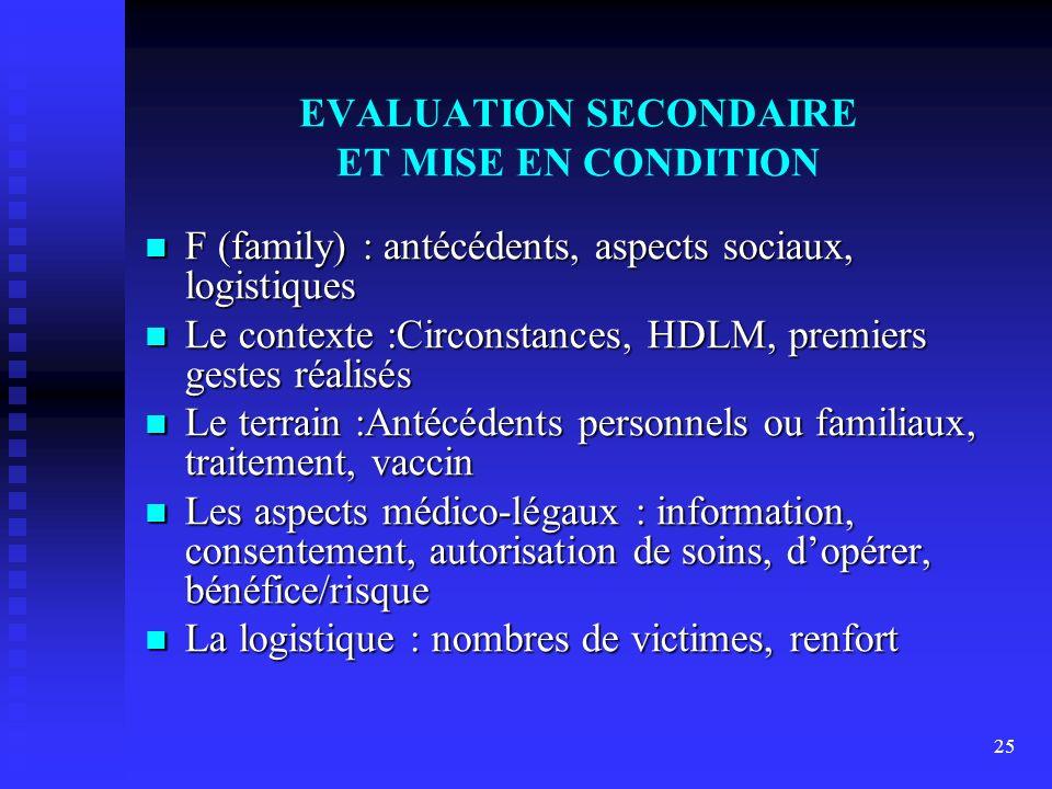 25 EVALUATION SECONDAIRE ET MISE EN CONDITION F (family) : antécédents, aspects sociaux, logistiques F (family) : antécédents, aspects sociaux, logist