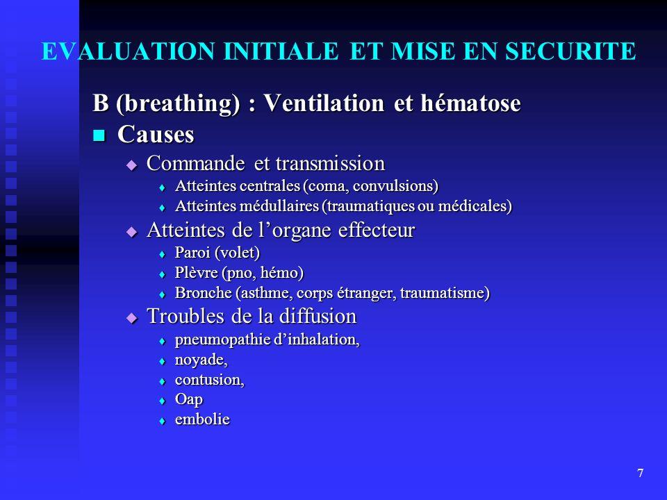 7 EVALUATION INITIALE ET MISE EN SECURITE B (breathing) : Ventilation et hématose Causes Causes Commande et transmission Commande et transmission Atte