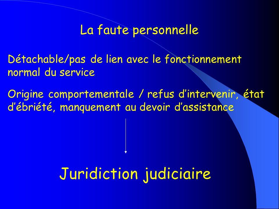 La faute personnelle Détachable/pas de lien avec le fonctionnement normal du service Origine comportementale / refus dintervenir, état débriété, manqu