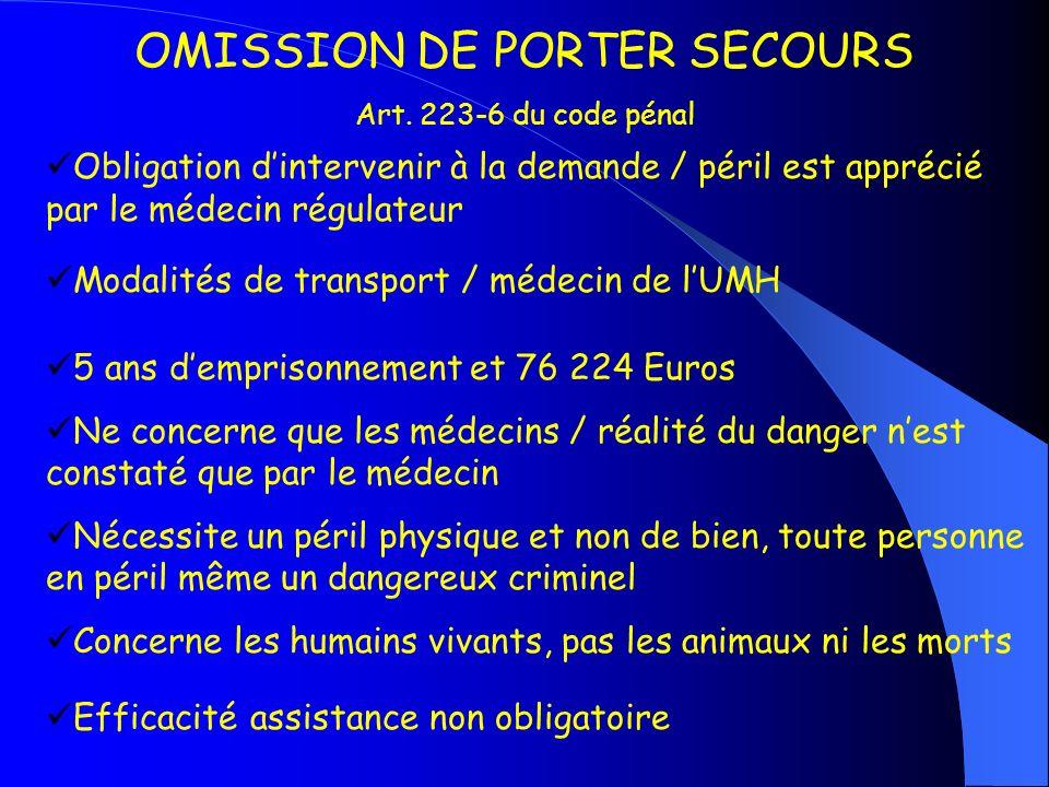 OMISSION DE PORTER SECOURS Art. 223-6 du code pénal Obligation dintervenir à la demande / péril est apprécié par le médecin régulateur Modalités de tr