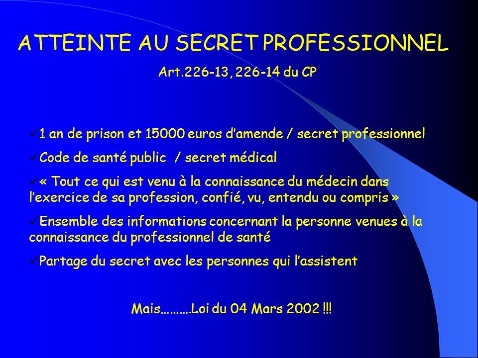 ATTEINTE AU SECRET PROFESSIONNEL Art.226-13, 226-14 du CP 1 an de prison et 15000 euros damende / secret professionnel Code de santé public / secret m