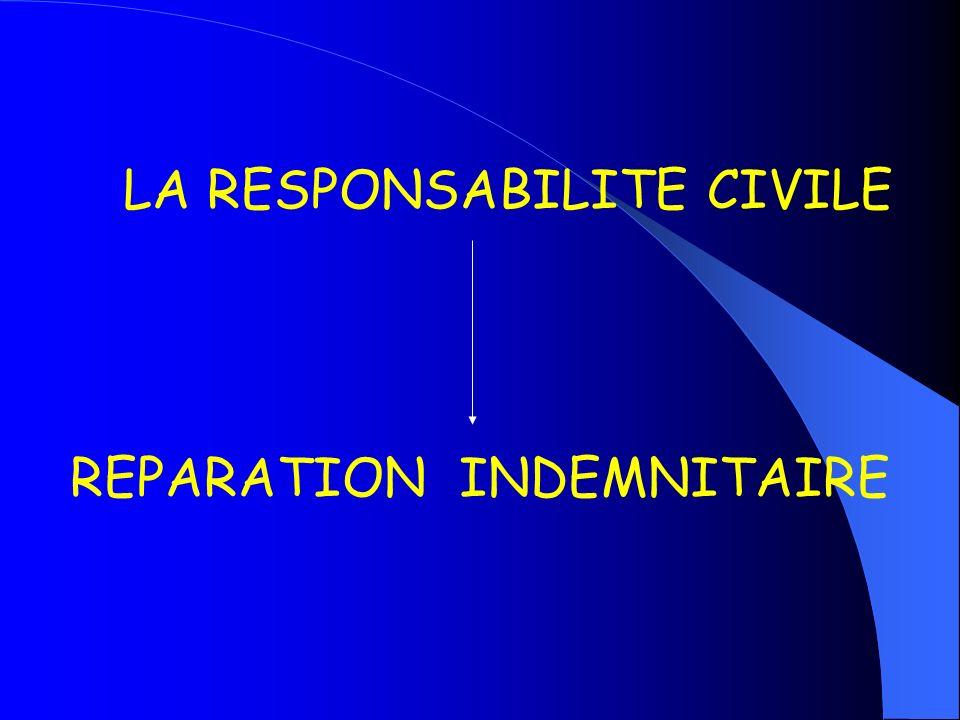 LA RESPONSABILITE CIVILE REPARATION INDEMNITAIRE