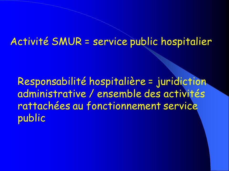 Activité SMUR = service public hospitalier Responsabilité hospitalière = juridiction administrative / ensemble des activités rattachées au fonctionnem