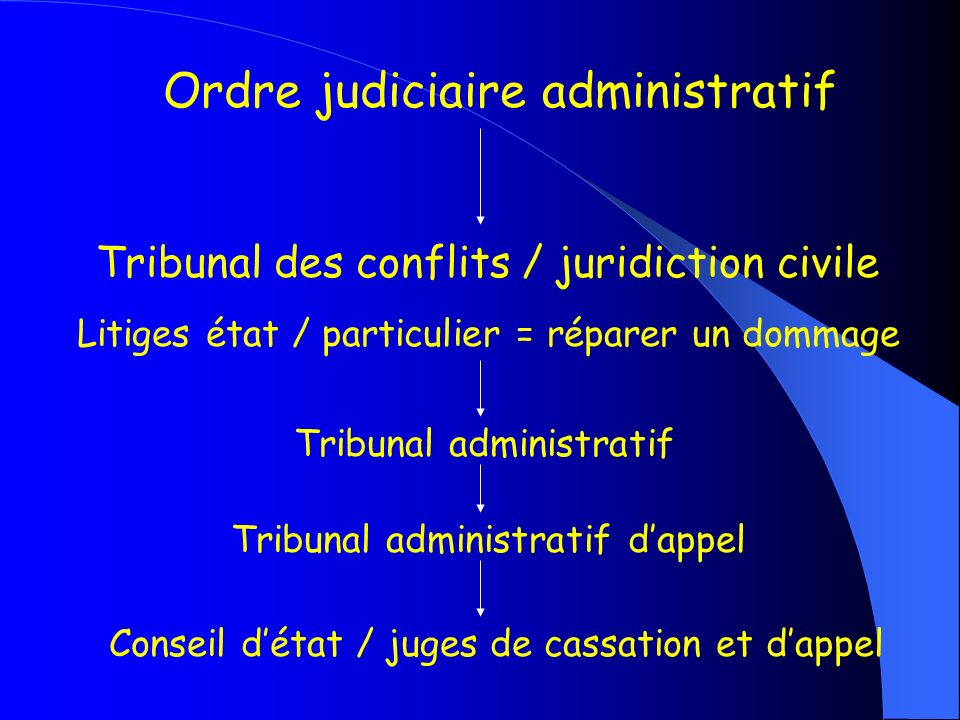 Ordre judiciaire administratif Tribunal des conflits / juridiction civile Litiges état / particulier = réparer un dommage Tribunal administratif Tribu