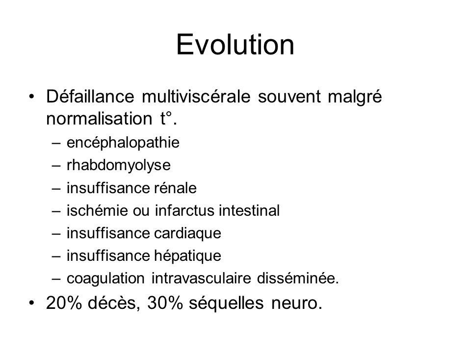 Evolution Défaillance multiviscérale souvent malgré normalisation t°. –encéphalopathie –rhabdomyolyse –insuffisance rénale –ischémie ou infarctus inte