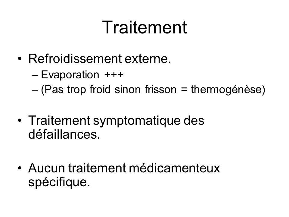 Traitement Refroidissement externe. –Evaporation +++ –(Pas trop froid sinon frisson = thermogénèse) Traitement symptomatique des défaillances. Aucun t
