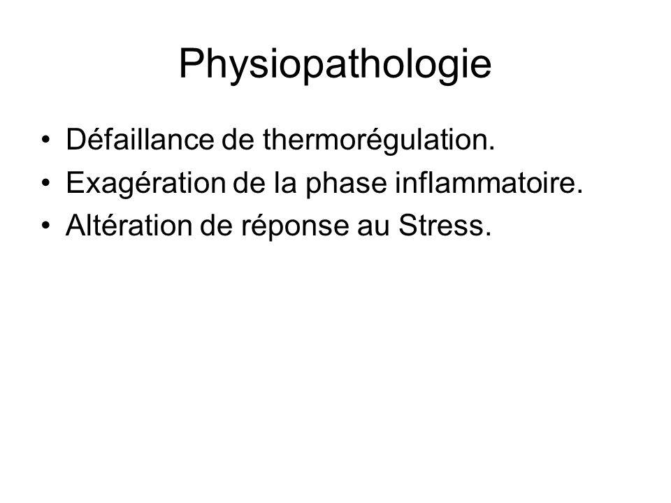 Physiopathologie Défaillance de thermorégulation. Exagération de la phase inflammatoire. Altération de réponse au Stress.