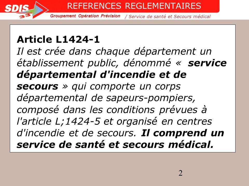 Groupement Opération Prévision 23 ORGANISATION OPERATIONNELLE Le soutien sanitaire Le secours d urgence L aide médicale urgente /Service de santé et Secours médical ORGANISATION OPERATIONNELLE
