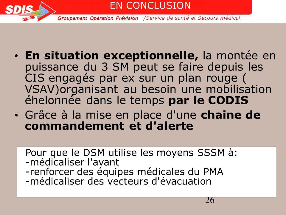 Groupement Opération Prévision 26 /Service de santé et Secours médical EN CONCLUSION En situation exceptionnelle, la montée en puissance du 3 SM peut