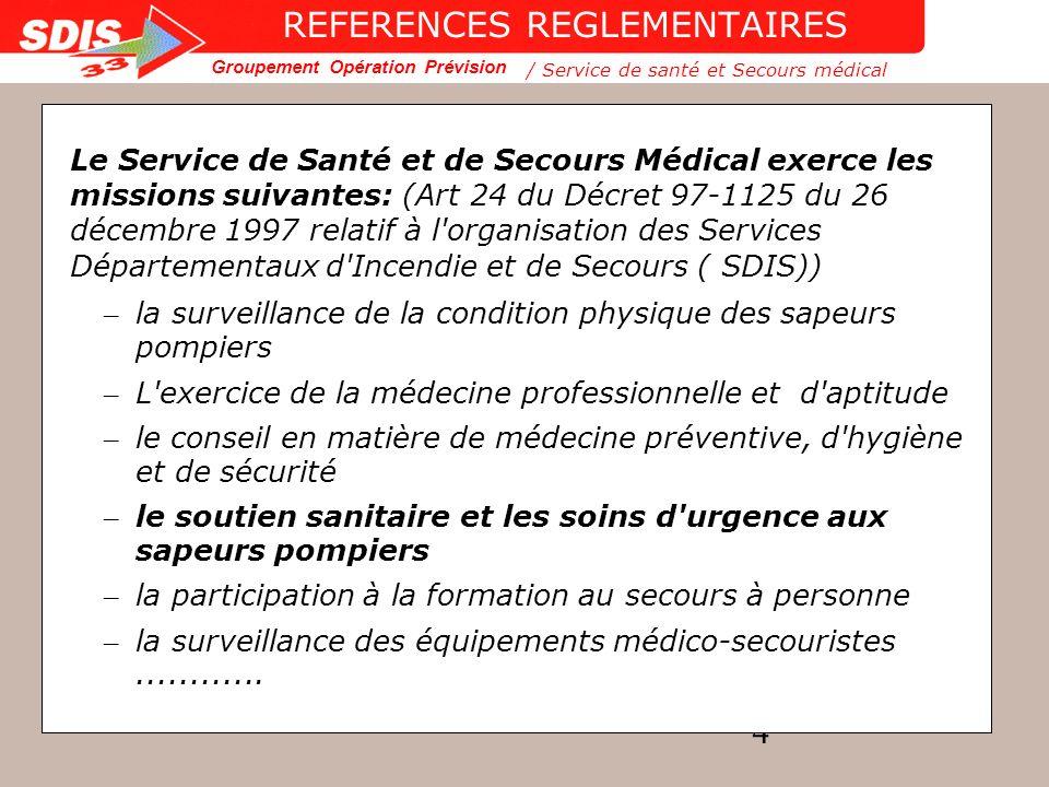 Groupement Opération Prévision 25 ORGANISATION OPERATIONNELLE /Service de santé et Secours médical ORGANISATION OPERATIONNELLE