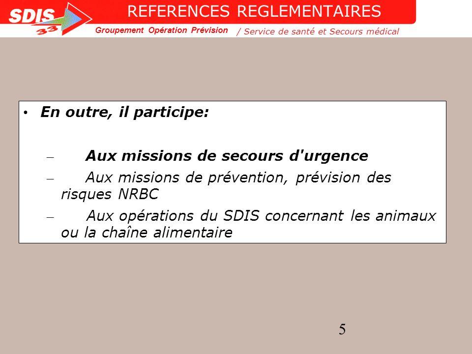 Groupement Opération Prévision 16 Le secours d urgence...Du quotidien à l exceptionnel...