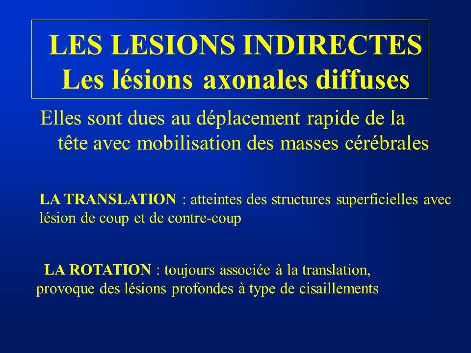 LES LESIONS INDIRECTES Les lésions axonales diffuses Elles sont dues au déplacement rapide de la tête avec mobilisation des masses cérébrales LA TRANS