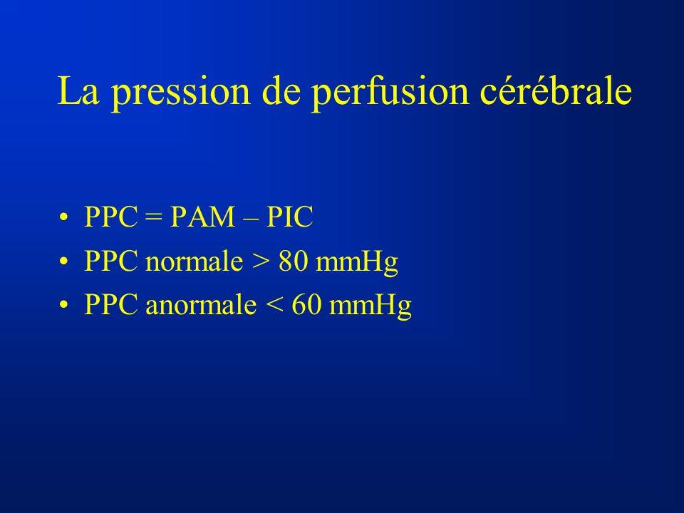 La pression de perfusion cérébrale PPC = PAM – PIC PPC normale > 80 mmHg PPC anormale < 60 mmHg