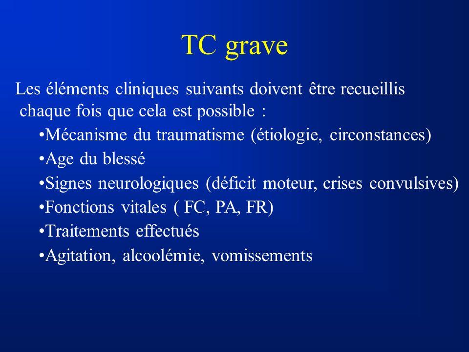 TC grave Les éléments cliniques suivants doivent être recueillis chaque fois que cela est possible : Mécanisme du traumatisme (étiologie, circonstance