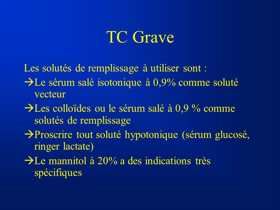TC Grave Les solutés de remplissage à utiliser sont : Le sérum salé isotonique à 0,9% comme soluté vecteur Les colloïdes ou le sérum salé à 0,9 % comm