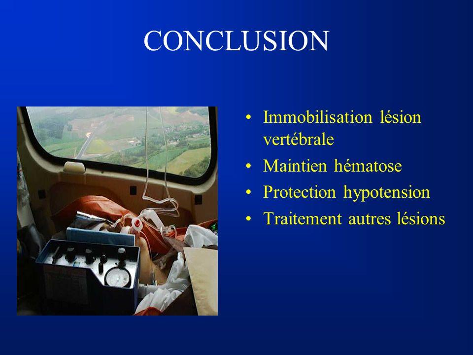 CONCLUSION Immobilisation lésion vertébrale Maintien hématose Protection hypotension Traitement autres lésions
