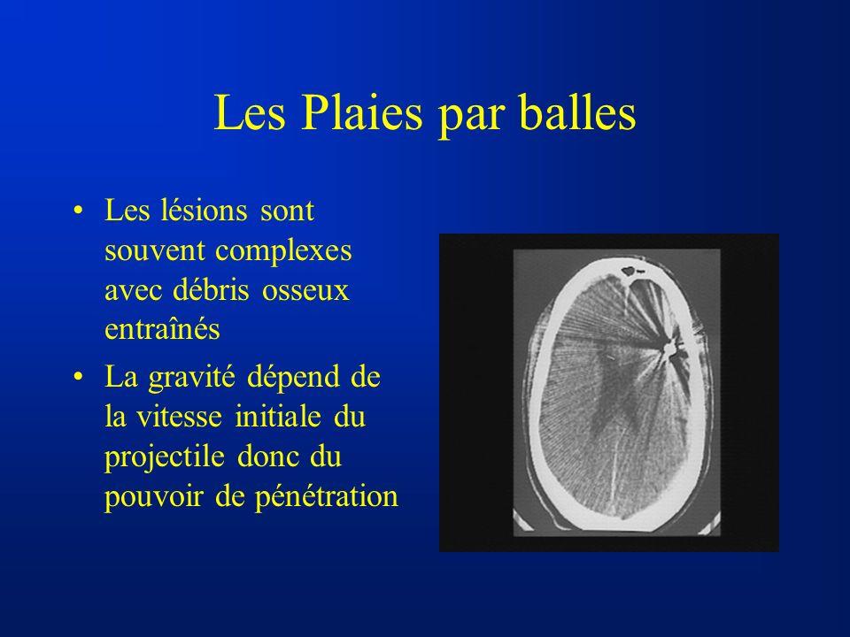 Les Plaies par balles Les lésions sont souvent complexes avec débris osseux entraînés La gravité dépend de la vitesse initiale du projectile donc du p