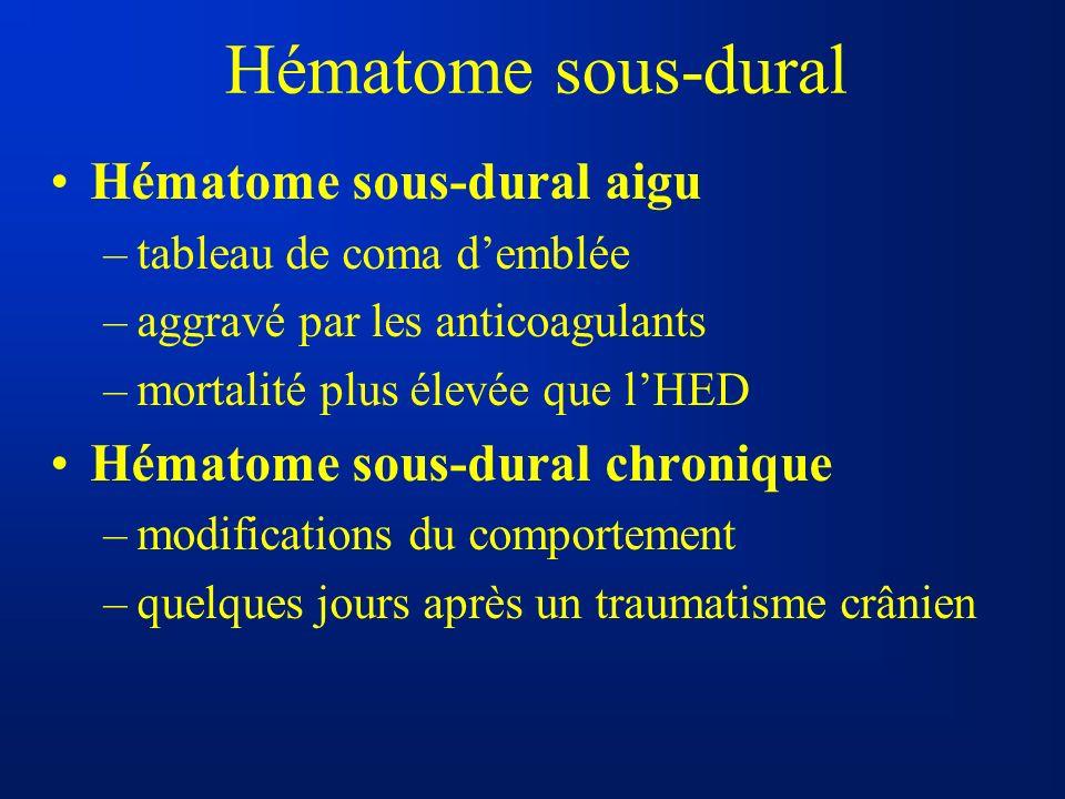 Hématome sous-dural Hématome sous-dural aigu –tableau de coma demblée –aggravé par les anticoagulants –mortalité plus élevée que lHED Hématome sous-du