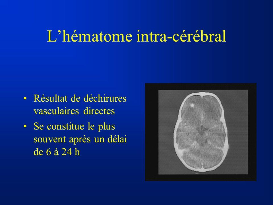 Lhématome intra-cérébral Résultat de déchirures vasculaires directes Se constitue le plus souvent après un délai de 6 à 24 h