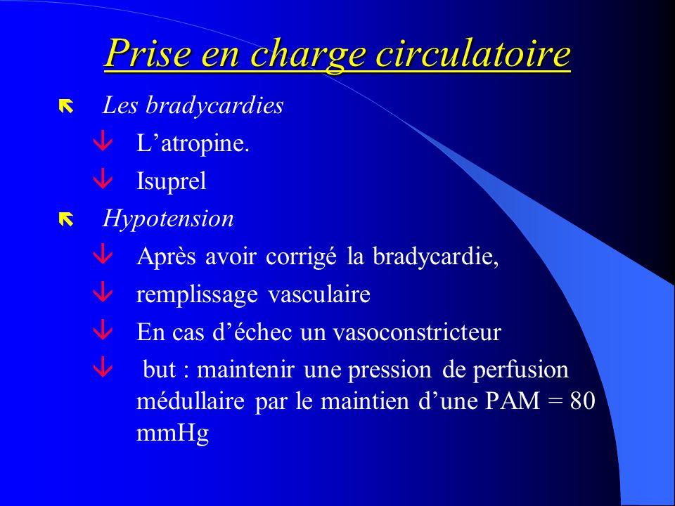 Prise en charge circulatoire ë Les bradycardies âLatropine. âIsuprel ë Hypotension âAprès avoir corrigé la bradycardie, âremplissage vasculaire âEn ca