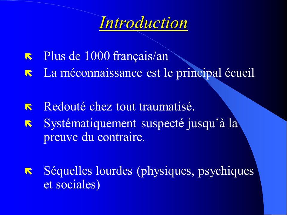 Introduction ë Plus de 1000 français/an ë La méconnaissance est le principal écueil ë Redouté chez tout traumatisé. ë Systématiquement suspecté jusquà