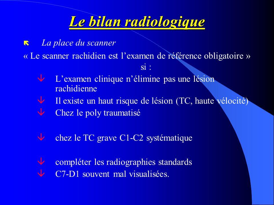 Le bilan radiologique ë La place du scanner « Le scanner rachidien est lexamen de référence obligatoire » si : âLexamen clinique nélimine pas une lési