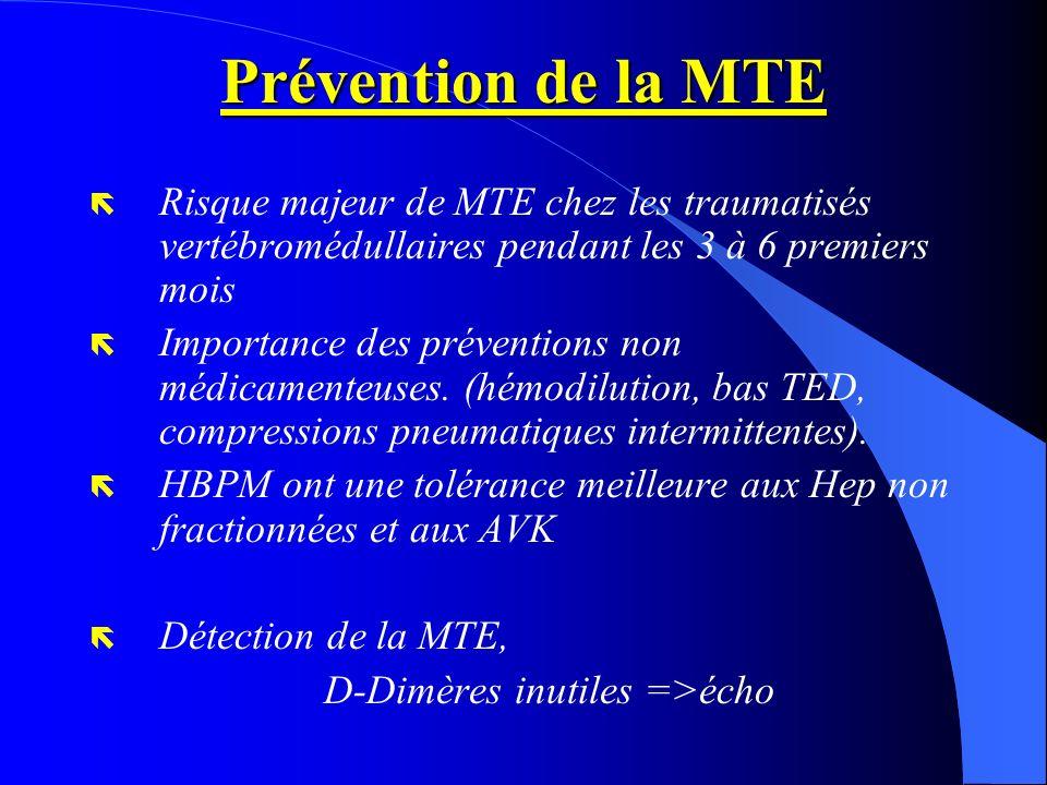 Prévention de la MTE ë Risque majeur de MTE chez les traumatisés vertébromédullaires pendant les 3 à 6 premiers mois ë Importance des préventions non