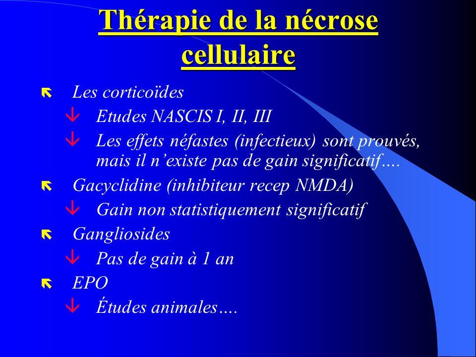 Thérapie de la nécrose cellulaire ë Les corticoïdes âEtudes NASCIS I, II, III âLes effets néfastes (infectieux) sont prouvés, mais il nexiste pas de g