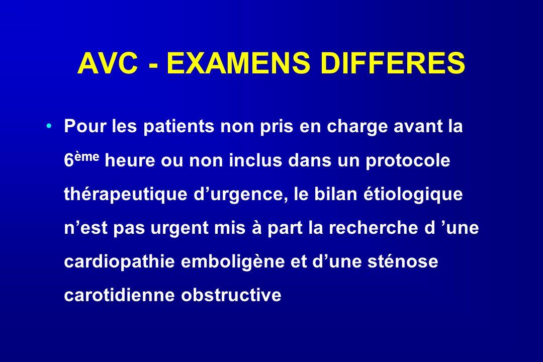 AVC - EXAMENS DIFFERES Pour les patients non pris en charge avant la 6 ème heure ou non inclus dans un protocole thérapeutique durgence, le bilan étio