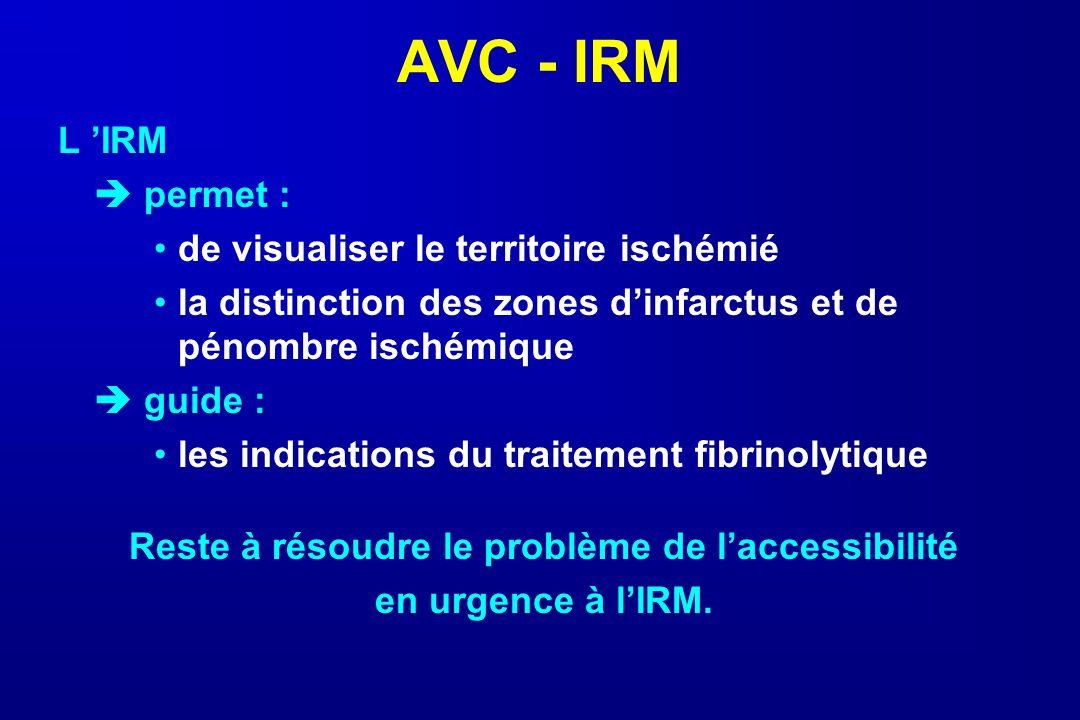 AVC - IRM L IRM permet : de visualiser le territoire ischémié la distinction des zones dinfarctus et de pénombre ischémique guide : les indications du
