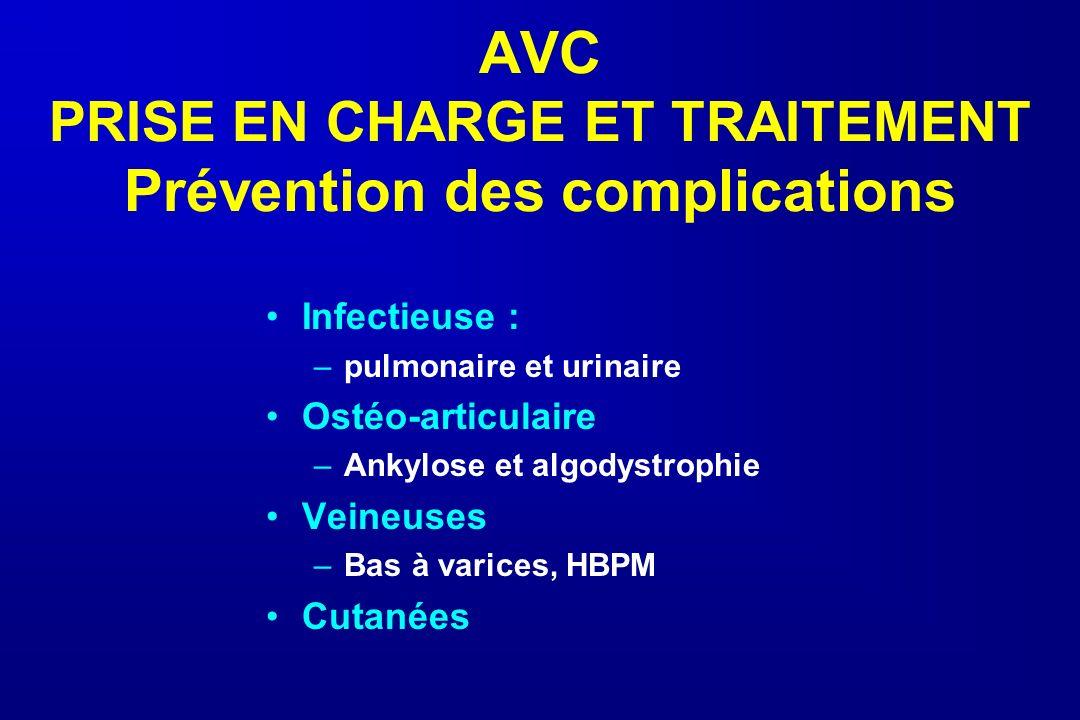 AVC PRISE EN CHARGE ET TRAITEMENT Prévention des complications Infectieuse : –pulmonaire et urinaire Ostéo-articulaire –Ankylose et algodystrophie Vei