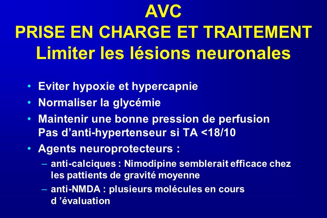 AVC PRISE EN CHARGE ET TRAITEMENT Limiter les lésions neuronales Eviter hypoxie et hypercapnie Normaliser la glycémie Maintenir une bonne pression de