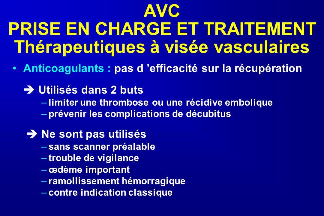 AVC PRISE EN CHARGE ET TRAITEMENT Thérapeutiques à visée vasculaires Anticoagulants : pas d efficacité sur la récupération Utilisés dans 2 buts –limit