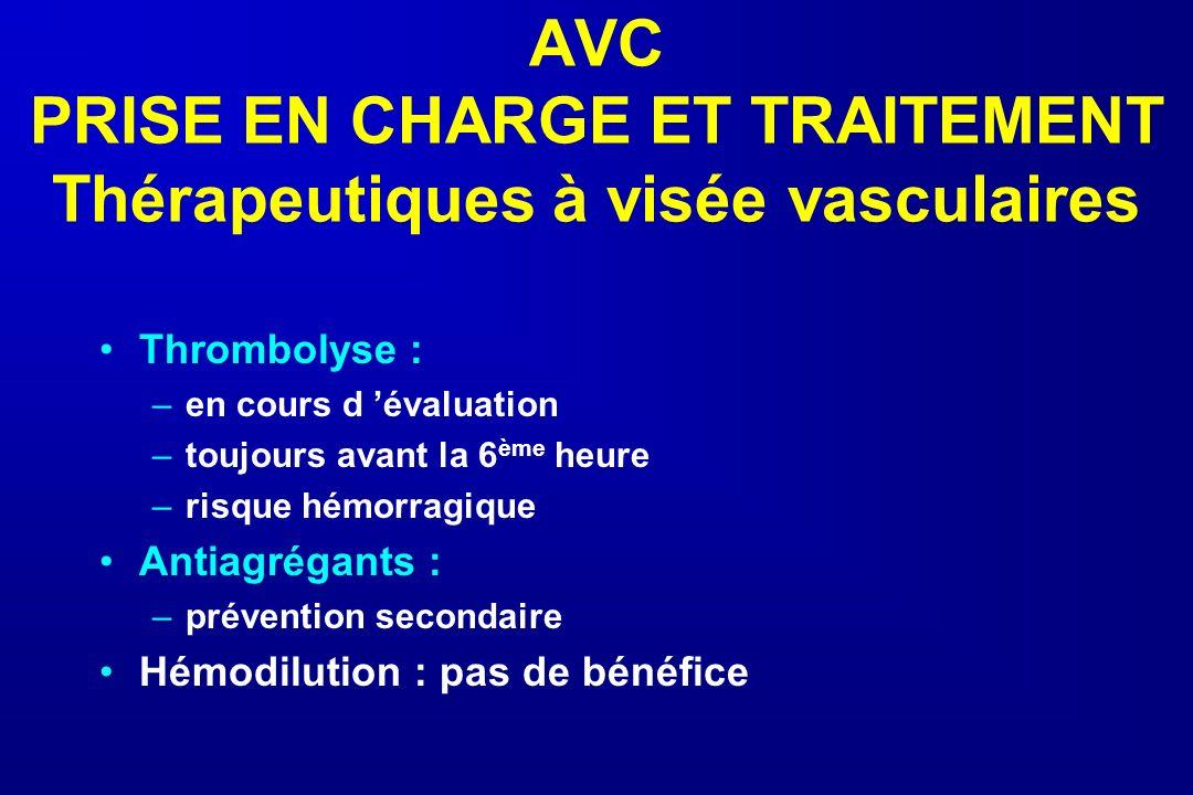 AVC PRISE EN CHARGE ET TRAITEMENT Thérapeutiques à visée vasculaires Thrombolyse : –en cours d évaluation –toujours avant la 6 ème heure –risque hémor