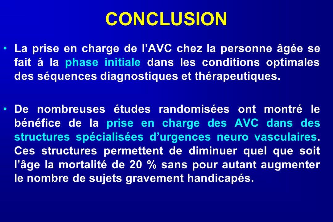 CONCLUSION La prise en charge de lAVC chez la personne âgée se fait à la phase initiale dans les conditions optimales des séquences diagnostiques et t
