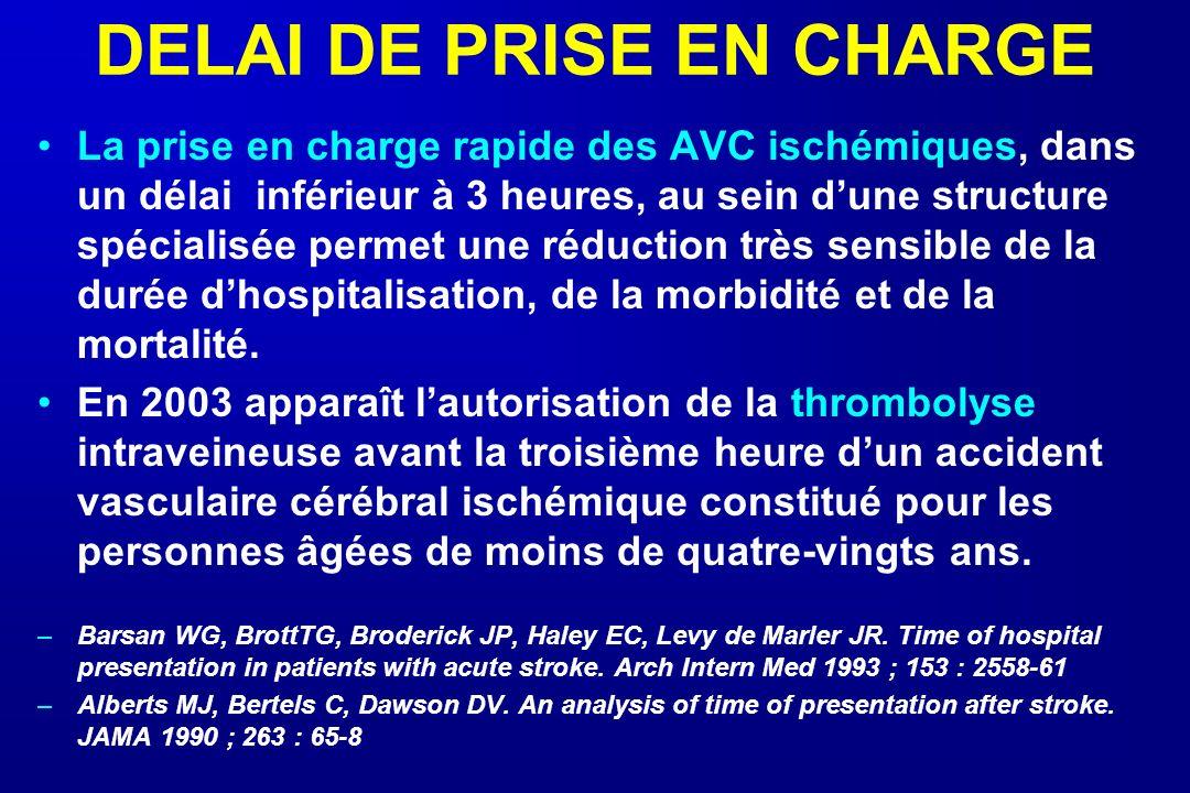 DELAI DE PRISE EN CHARGE La prise en charge rapide des AVC ischémiques, dans un délai inférieur à 3 heures, au sein dune structure spécialisée permet
