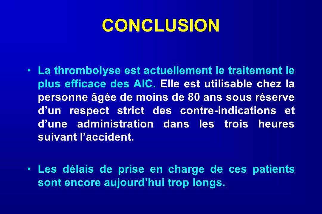 CONCLUSION La thrombolyse est actuellement le traitement le plus efficace des AIC. Elle est utilisable chez la personne âgée de moins de 80 ans sous r