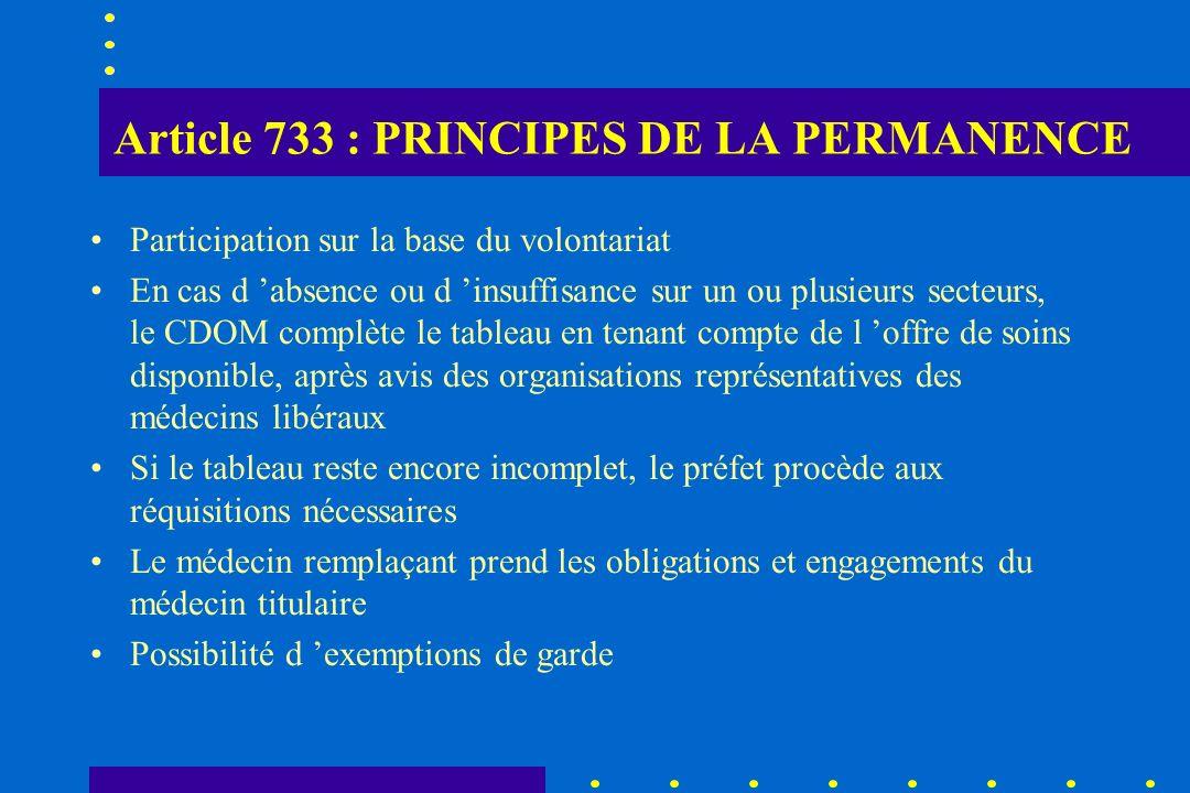Article 733 : PRINCIPES DE LA PERMANENCE Participation sur la base du volontariat En cas d absence ou d insuffisance sur un ou plusieurs secteurs, le